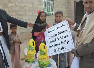 120 اسرة نازحة في محافظة عمران يتسلمون مساعدات من منظمة منى في نشاط ثالث للمنظمة في المحافظة