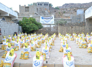 107 families in al-Raha area in Hajjeh received food aid packs from Monareliefye.org