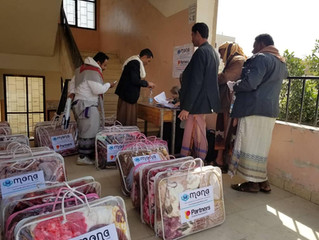 600 families received blankets in   capital Sana'a from Mona Relief