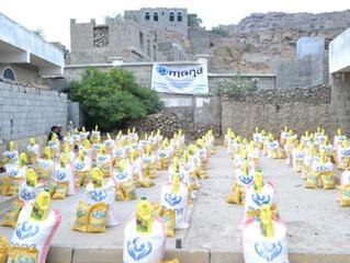 منظمة منى توزع سلات غذائية للاسر الفقيره في منطقه الرحا بكحلان الشرف محافظة حجة