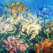 """Flowers XYZ II. 2013  Oil on canvas 60"""" x 48""""  The second of a two part series, 'Flowers XYZ II' conveys intense movements, materialistic breakdowns and expansions of floral forms. The artist's 'supreme abstraction' of the flower petals are in earlier, less expansive forms than the first 'Flowers XYZ' work. Additionally, this work also has a surrealistic element: a flower forming (or dissipating, depending how you see it) in """"thin air"""" - natural forces of metaphysical creation."""