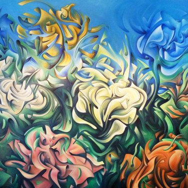 "Flowers XYZ II. 2013  Oil on canvas 60"" x 48""  The second of a two part series, 'Flowers XYZ II' conveys intense movements, materialistic breakdowns and expansions of floral forms. The artist's 'supreme abstraction' of the flower petals are in earlier, less expansive forms than the first 'Flowers XYZ' work. Additionally, this work also has a surrealistic element: a flower forming (or dissipating, depending how you see it) in ""thin air"" - natural forces of metaphysical creation."