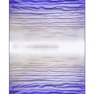 """[TWO-SIDED] BLUE mixed media [canvas] 120"""" x 60"""" x 7"""" 2017  Sculpted canvas diffuse of energy in a 2-sided format, subtlety dissolving in tone and form from a deep rich, vibrant blue to a soft white."""