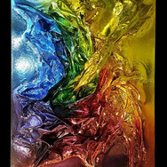 """MULTI-COLOR mixed media [chrome sculpted canvas] 48"""" x 60"""" x 28"""" 2016  Complex color chromed sculpted canvas. A dynamic texture pours from top right (28"""" off canvas), creating secondary and tertiary colors and color fusions and bleeds. Like other works in the series, texture and color interact in a spectrum complexity."""