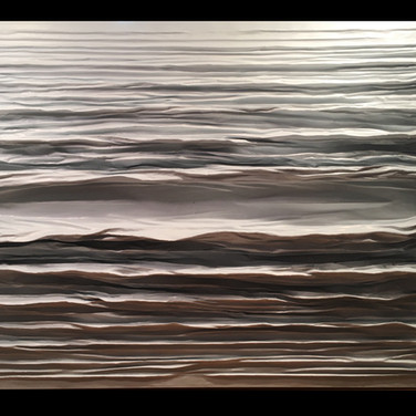 """DIFFUSION SERIES #6 UNTITLED mixed media [sculpted canvas] 60"""" x 48"""" x 7"""" 2016-2017  Finely detailed sculpted movement dissipates above and below a coming-going equilibrium -which exists in ever so subtle fashion from the shadow of the above form gently resting on it."""