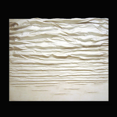 """DIFFUSION SERIES WHITE #2 mixed media [sculpted canvas] 60"""" x 48"""" x 7"""" 2016  In this sculpted canvas work, energy is diffused in a calming, rippling sculptural movement."""