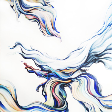 """LIQUID COLOUR SERIES: 'Hydra'. Oil on canvas 32"""" x 42"""" 2014 Inspired by Greek mythology and translating figural forms and movements to that of color, this work illustrates the beautiful interplay of color, movement and form. The artist's 'supreme abstraction' abilities are at work in liquid form."""