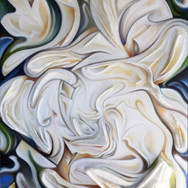 """Flower. 2011  Oil on sculpted canvas 42"""" x 32"""" x 5""""  Private Collection, United States  Sculpted forms of animated 'petals' of a flower enmesh within themselves and their leaved background. Delicately detailed movements are painted as enhancement to an already warm, intimate color palette and expression."""