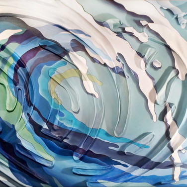"COLOR SPLASH SERIES: Wave.  Sculpted canvas/oil. 48"" x 60"" x 5"" 2015  Seemless, undulating [3D] sculpted forms that emulate continual collapsing waves interact with a meticulously painted wave movement - a dramatic narrative of simulated, visual illusion & depth. Crisp, fine outlines - coming/going contours varying in thickness along each form to accent the movement. The graphic interpretation of the wave's color palette, ornamented stylization of color swatch edges, color overlaps and tone interplay with the sculpture beneath further animate this layered movement. Areas of the sculpture are rendered with transitioning color for a dramatic effect with the illusion of shadows/flotation, a signature of the series."
