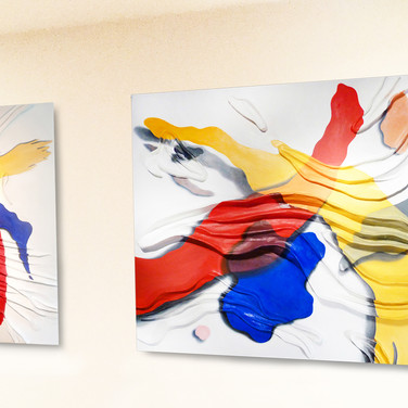 """PRIMARY I, II oil on sculpted canvas 106"""" x 48"""" x 5"""" 2012-2013  Dramatic interaction of color, form and light. Painted forms and shadows interact with a sculpted layer below for dynamic layering and illusion. Color over - create secondary hues, also with their own depth and shadows. This work intends to capture the beautiful boldness of the primary colors against the stark white to further enhance the depth and illusion of 'separation' of the animated bands of color and the canvas surface. Anderson's COLOR SPLASH SERIES has a loose and abstract energy as 'live splashes' of color are seen as spontaneous as they are live - an animated color narrative witnessed before the viewer's eyes."""