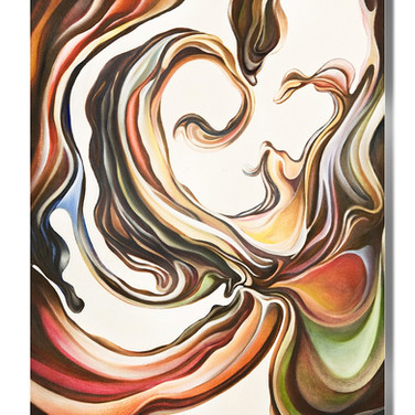 """'Color Swirl' oil on canvas 24"""" x 30""""  2000 The artist's early fascination with movement and surrealism are displayed in this fluid color form. This form and feeling of the movement will integrate itself into many of the artist's works in the years to come - even in small elemental areas of a work."""