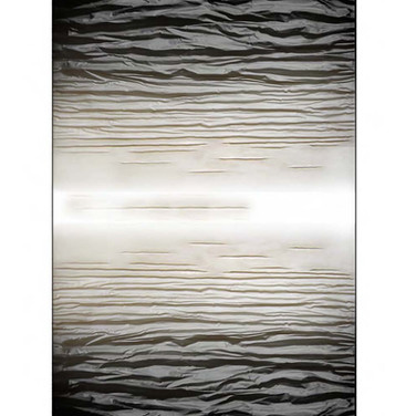 """[TWO-SIDED] BLACK AND WHITE mixed media [canvas] 120"""" x 60"""" x 7"""" 2017  Sculpted canvas diffuse of energy in a 2-sided format, subtlety dissolving in tone and form from a deep rich, vibrant black to a soft white."""