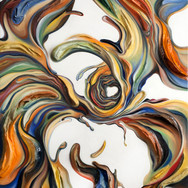 """COLOR TWIST oil on sculpted canvas 32"""" x 42"""" x 4"""" 2011  Sculpted forms animate a contortion of color forms - two and three dimensional - for a powerful, spiritual color movement experience."""