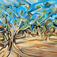 """'Tree-scape' oil on canvas 72"""" x 36""""  2011  Trees, by their very nature, are irregular. No two in the world alike.  From twisted roots, their contorted forms burst out of the earth, leading to marvelous paths of leaved/leave-less extensions.  The landscape and terrain of Australia is nothing short of extraordinary, from outback terrain, exquisite gardens and cliffs to urban settings and contemporary architecture. The work conveys the contortion and conformity of the irregular tree limbs with their external natural forces."""