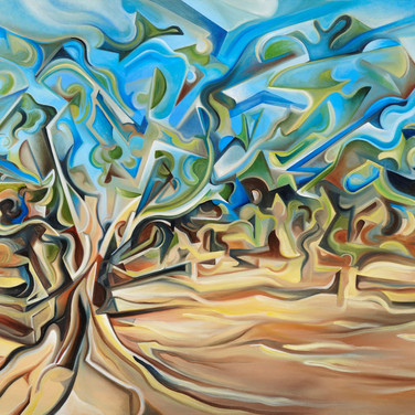 "'Tree-scape' oil on canvas 72"" x 36""  2011  Trees, by their very nature, are irregular. No two in the world alike.  From twisted roots, their contorted forms burst out of the earth, leading to marvelous paths of leaved/leave-less extensions.  The landscape and terrain of Australia is nothing short of extraordinary, from outback terrain, exquisite gardens and cliffs to urban settings and contemporary architecture. The work conveys the contortion and conformity of the irregular tree limbs with their external natural forces."