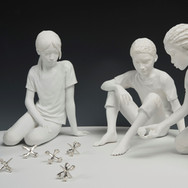 """THE DREAM CONTINUED [IN PROGRESS]  2019-2021  In """"The Dream Continued,"""" the viewer observes children playing the game of jacks. This childhood interaction initiates them to a world awaiting them.  The ball/globe in the girl's hand suggests future and equal  opportunities. These opportunities symbolically lie in front of her; she controls her own impact on society.  The work addresses all aspects of race & gender in our newly evolving social situation where multiple ethnicities of children work, play and live together. Such a way of life is what the great Dr. Martin Luther King referred to in his 'I Have a Dream' speech: """"...And if America is to be a great nation, this [equality] must become true."""""""