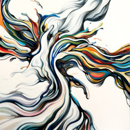 """LIQUID COLOUR SERIES: 'Untitled' Oil on canvas 32"""" x 42"""" 2014 Colourful, liquid forms interact physically, altering their own forms and palettes accordingly. A dynamic expression within the series, which conceptually expresses color form and tone as interactive elements in motion."""
