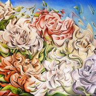 """Flowers XYZ, 2013  Oil on canvas 60"""" x 48""""  Anderson decodes the complex shapes of the roses only to reconstruct them in his own unique way, creating a painting that is beautiful, intricate and full of life."""