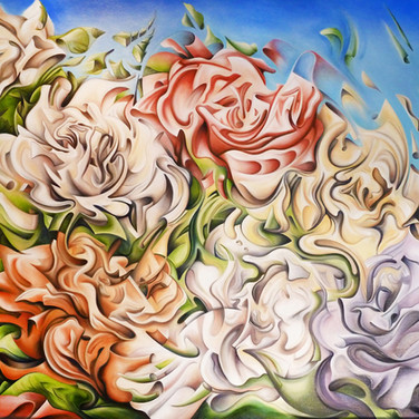 "Flowers XYZ, 2013  Oil on canvas 60"" x 48""  Anderson decodes the complex shapes of the roses only to reconstruct them in his own unique way, creating a painting that is beautiful, intricate and full of life."