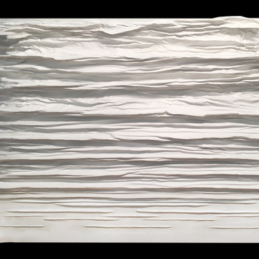 """DIFFUSION SERIES #3 mixed media [sculpted canvas] 60"""" x 48"""" x 7"""" 2016  In this sculpted canvas work, energy is diffused in a calming, rippling movement."""