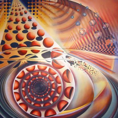 """FRAGMENTATION SERIES #3: Evolution. 2008-2009 Evolution (3 of 8). 2008-2009  Oil on canvas 72"""" x 72"""" (diptych)  Private Collection, United States  A seminal work in the Fragmentation Series, Evolution explores the constance of change over a sustained period of time. The expanding circles, disconnected from their shadows, are separated by orbital movement - creating order within chaos and vice versa: every area of the canvas is in motion: from free-falls and expanses to rising orbits and diffusions."""