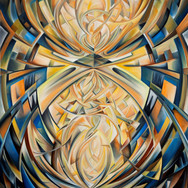"""The Nike [Winged Victory] V oil on canvas  [48"""" x 40""""] 2010   A highly energetic composition, conveys colliding forms and tones of energy along sweeping diagonals. The use of rich black and deep blue breaks amidst re-connecting curves and highlighted, warm tones provides a calmness within areas of bold contrast."""