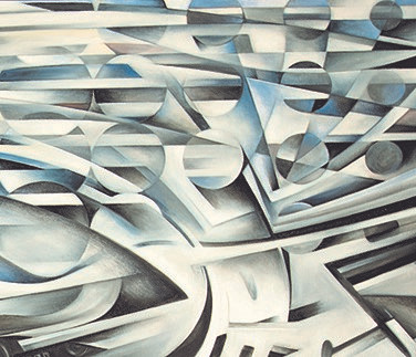 "The Dino. [56"" x 92""]; oil. 2014-2015  Aerodynamic movements and countering forces of highly advanced engineering and machinery are conveyed in a highly technical, abstract expression. While some of the influences of futurism and cubism can be seen, the 'supreme abstraction' platform in which the artist operates connects the [often layered] movements in a continuous flowing form. Connected to the movements of the car, its natural and environmental forces is a highly abstracted Ferrari horse in motion at the bottom right corner. Top right, there are three layers of movements, as  circles diffuse out amidst two other aerodynamic movements. The yellow stripes in the road lift off in motion and fade into the soft yellow DINO logo on the hood.  The Dino conveys all surrounding energies and elements of physics and as they interact with the engineered force and highly aesthetic, vintage form and contour of the rare, limited edition model, Dino Ferrari (246 GTS model).   FERRARI Historical note:  The history of this model has an intimate yet tragic sentiment story to it:   Alfredo ""Dino"" Ferrari died from Duchenne Muscular Dystrophy 60 years ago. Alfredo Ferrari (1932-1956) was an Italian automotive engineer and the first son of automaker Enzo Ferrari. Alfredo was nicknamed Dino. He had Duchenne muscular dystrophy and died at the age of 24.  Named to honour Ferrari founder Enzo Ferrari's son and heir Dino Ferrari, the Dino models are a rare edition and coveted by car aficionados."