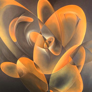 """METAPHYSICAL GEOMETRIC ROSE ANATOMIES SERIES: 'Sphere #1/4 (Orange)'  METAPHYSICAL GEOMETRIC ROSE ANATOMIES:  'Sphere #1/4 (Orange)' Oil on canvas. 24"""" x 30"""" 2020  Abstracted geometric forms and their enveloping and interactive energies form the dynamic anatomy of The Rose. Translucent, evolving narratives of weightless movements creating an experience as [meta-] physical as it is spiritual.  There will be 16 individual Roses: Four geometric shapes(Cylinder, Sphere, Rectangle, Triangle), each done in RYOB(Red, Yellow, Orange, Blue)."""