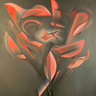 """METAPHYSICAL GEOMETRIC ROSE ANATOMIES SERIES: 'Cylinder #1/4 (Red)'   Oil on canvas. 24"""" x 30"""" 2020  Abstracted geometric forms and their enveloping and interactive energies form the dynamic anatomy of The Rose. Translucent, evolving narratives of weightless movements creating an experience as [meta-] physical as it is spiritual. There will be 16 individual Roses: Four geometric shapes(Cylinder, Sphere, Rectangle, Triangle), each done in RYOB(Red, Yellow, Orange, Blue)."""