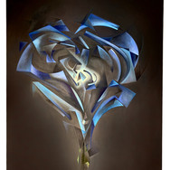 """METAPHYSICAL GEOMETRIC ROSE ANATOMIES SERIES: 'Rectangle #1/4 (Blue)'  METAPHYSICAL GEOMETRIC ROSE ANATOMIES:  'Rectangle #1/4 (Blue)' Oil on canvas. 24"""" x 30"""" 2020  Abstracted geometric forms and their enveloping and interactive energies form the dynamic anatomy of The Rose. Translucent, evolving narratives of weightless movements creating an experience as [meta-] physical as it is spiritual.  There will be 16 individual Roses: Four geometric shapes(Cylinder, Sphere, Rectangle, Triangle), each done in RYOB(Red, Yellow, Orange, Blue)."""