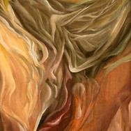 """Nightmare.  oil on canvas;  [16 x 24""""] 1999 [Private Collection, USA]  A sweeping dark form gliding into an abstract [sleeping] form; warm tones and earth tones make the motion soothing to the viewer. Depicted is the depths of the imagination - sometimes dark, sometimes uplifting. The fragmented and co-planar bedpost portrays the artists affinity for cubsim and futurism, though this work is rendered in what can be seen as a very surrealistic, liquid/fluid style. The artist has made note of his fascination with surrealism and its breakdown of form, composition and redefining attributes that """"change the way you see things."""""""