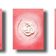 """'American Beauty' mixed media 162"""" x 48"""" x 10"""" 2008  This powerful large scale triptych (almost 15') conveys one of nature's most equisite beauties: the expanse of a rose. This immense and complex beauty is not only iconic in its aesthetic, but in its fragility as it pertains to the cycle of life. Executed with a high-gloss thick gel, this large scale gradient of color t is vibrant and bold, while minimalistic in its sculpted form.  The sheet scale of this work, spanning 13 ft. (4.5m) and 4 ft. (1.25m) allows the work to 'breathe' and the narrative to unfold - the same as the anatomical makeup of the rose, tight at the core but a resounding and lively expanse[of petals]."""