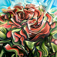 """Roses. 2012  Oil on canvas 40"""" x 30""""  Anderson de-constructs and reassembles the angular, almost cubist rose petals and leaves, creating a sense of movement in an otherwise still object. It is up to the viewer to decide in which direction (in or out) the energy flows."""
