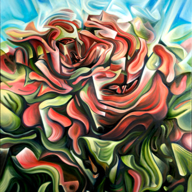 "Roses. 2012  Oil on canvas 40"" x 30""  Anderson de-constructs and reassembles the angular, almost cubist rose petals and leaves, creating a sense of movement in an otherwise still object. It is up to the viewer to decide in which direction (in or out) the energy flows."