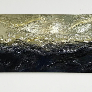 """COLOR DIFFUSE #1 [SILVER/BLACK]  mixed media [chrome sculpted canvas] 72"""" x 32"""" x 8"""" 2016  Color chrome transitions in a color gradient, interacting with a buildup of texture simultaneously."""