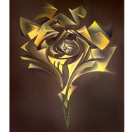 """METAPHYSICAL GEOMETRIC ROSE ANATOMIES(Series of 16):  'Triangle #1/4 (Yellow)'  Oil on canvas  24"""" x 30"""" 2020  Abstracted geometric forms and their enveloping and interactive energies form the dynamic anatomy of The Rose.  Translucent, evolving narratives of weightless movements create an experience as [meta-]physical as it is spiritual.  Each of the four geometric shapes will be executed in RYOB (Red, Yellow, Orange, Blue), 16 roses total."""