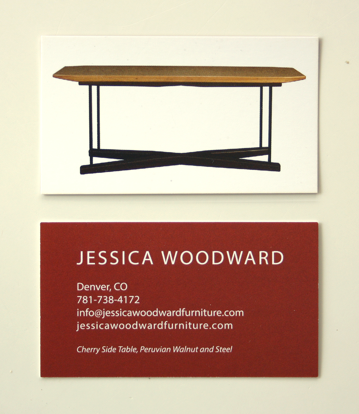 Jessica Woodward Furniture Business Card