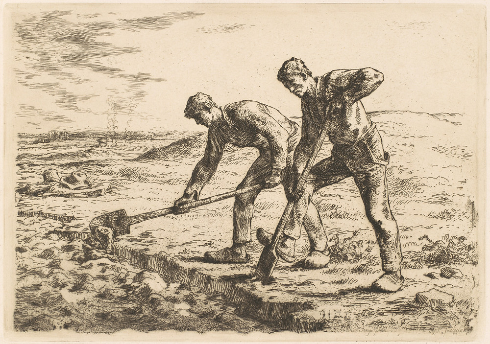 Jean-François Millet, 'The Diggers', etching, 1855