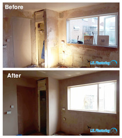 before after kitchen plastering bonding and boardingbacking plaster