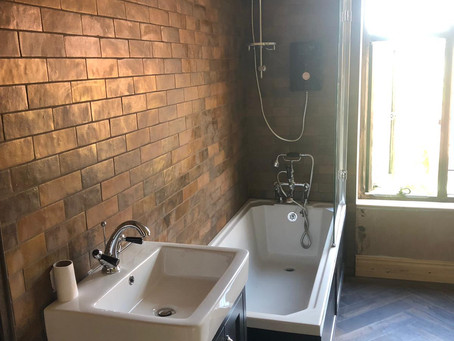 Bathroom with Spanish imported tiles