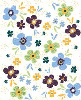 Carte  planter Fond blanc fleurs bleue jaune vert