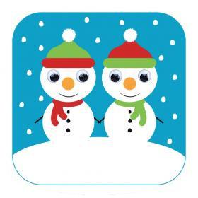 Carte de Noël aux yeux qui bougent! -Bonhomme de neige