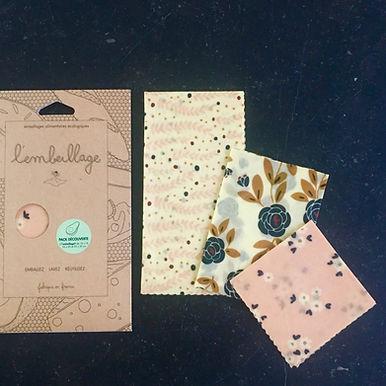 Bee Wrap l'Embeillage -  Pack de 3 emballages alimentaires réutilisable