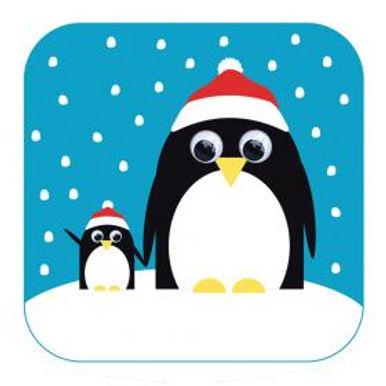 Carte de Noël aux yeux qui bougent - Pingouin