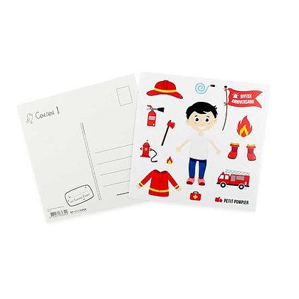Carte Anniversaire - Stickers Pompiers