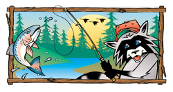 racoon fishing  |  t-shirt design