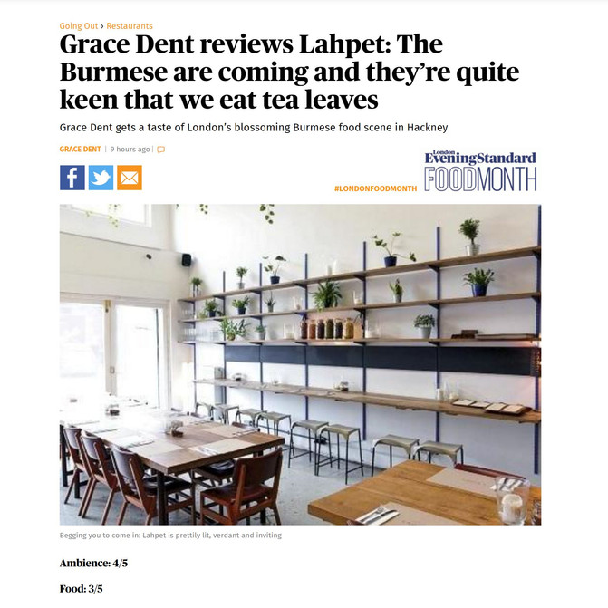 Lahpet London in EAST LONDON by Hoxton Mini Press and reviewed Grace Dent (Evening Standard Magazine