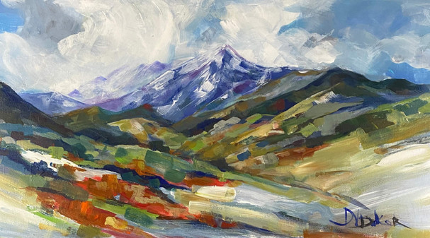 Clouds Over the Peak Acrylic  15 x30