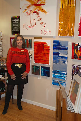 Pattie Bowler showing her artwork at Gallery 113