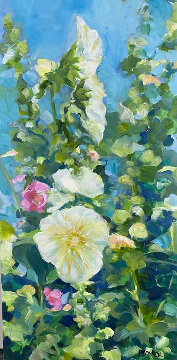 Sunlit Hollylocks Acrylic 15x30
